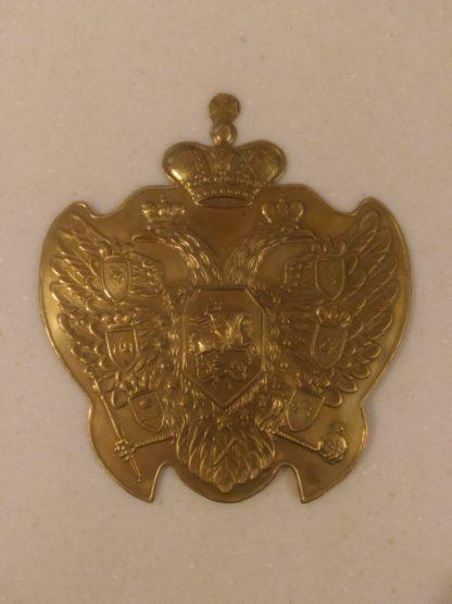 Plaque sur le casque du grenadier de Pierre le Grand